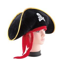 wholesale pirate skull caps Promo Codes - Wholesale-Pirate Captain Hat Skull Crossbone Cap Costume Fancy Dress Party Halloween 2016 Fashion