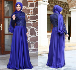Wholesale Formal Hijab - New 2016 Turkish Muslim Evening Dresses Hijab Long Sleeves Lace Chiffon Floor Length Royal Blue Mother of the Bride Dress Formal Party Gowns