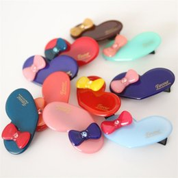 Wholesale plastic bow charms - 20pcs lot Lovely Heart Shape Top Quality Acylic Mini Size Baby Girls Hair Clips with Crystal Bow Charms Korean Hotsale Barrettes
