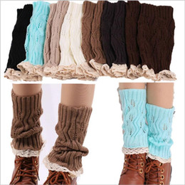 Wholesale Cuffed Boots - Lace Crochet Leg Warmers Knit Ballet Boot Cuffs Women Trim Boot Cuff Christmas Leg Warmers Booty Gaiters Boot Covers Knee High Socks B2605