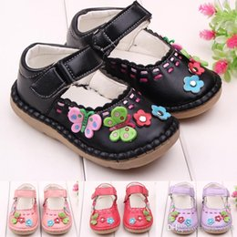 Wholesale Girls Patching Dress - Hot Wholesale PU Leather Flower Butterfly Rubber Patch Hook & Loop Strap Dress Baby Girl Shoes Toddler Shoes Two Colors