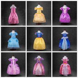 Wholesale Cinderella White Dress For Girls - sleeping beauty sofia Rapunzel snow white Cinderella belle princess party costume dress girls tutu ball gown for girls 9 designs