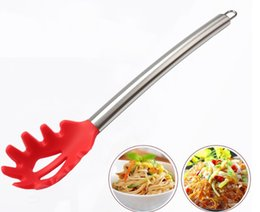 Wholesale Large Fork - Silicone Spaghetti Server - Heat Resistant Non-Stick Silicone Pasta Fork with Stainless Steel Handle Large Slotted Spoon