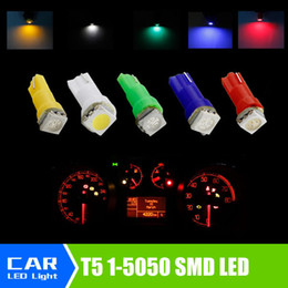 Wholesale green clearance lights - High quality T5 37 70 73 74 Dashboard Gauge 5050 SMD 1 LED Min Instrument Guage led bulb Yellow Blue green red white car light