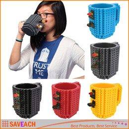 Wholesale Cartoon Drink Cup - 2017 Building Blocks Mugs DIY Creative Lego Drink Coffee Cup 300-400ml Fashion Personalized Decompression Water Cup 10 COLORS