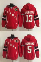 Wholesale Cheap Hoodies Woman - 2017 Cheap Wholesale Ice hockey hoodies Calgary Flames #13 gaudreau #5 Giordano red Women Hoodies Jersey
