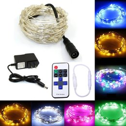 Wholesale Copper Drops - 10m 100 33ft RF remote control dimmable LED copper wire string Light starry night lighting for holiday wedding party Christmas Fairy lights
