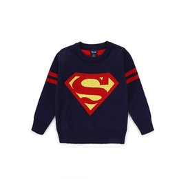 Wholesale Wholesale Logo Sweaters - 5 pieces lot 2016 new superman logo kids sweaters 100-140cm height child pullover o-neck boyes knits sweater hotsale cloth free shipping
