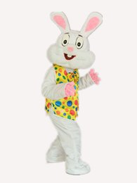 Wholesale White Bunny Costume - Yellow PROFESSIONAL EASTER BUNNY MASCOT COSTUME Bugs Rabbit Hare Adult Fancy Dress Cartoon Suit