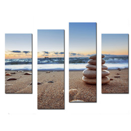 Wholesale Sunrise Canvas Painting - 4 Panel Wall Art Stones Balance On Beach Sunrise Shot Painting The Picture Print On Canvas Seascape Pictures For Home Decor Decoration Gift