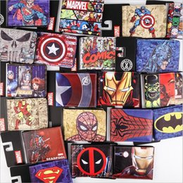 Wholesale Iron Card - Hot Carton Wallets Marvel Comics The Avengers Hulk Iron Man Thor Captain Superman Purse Logo Credit Oyster License Card Holder Wallet
