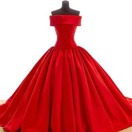 Wholesale Silver Satin Strapless Dress - Formal Pageant 2016 Free Shipping Red Ball Gown Satin Long Evening Dress Strapless Lace-up Vestidos de Formatura