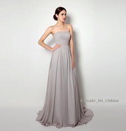 Wholesale Grey Strapless Cocktail Dresses - Party Dresses Chiffon Strapless pleated net color Grey Skirt Empire Wedding dresses In Stock Dresses Bridal Real Photo 2016 New