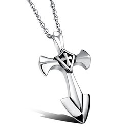 Wholesale Large Stainless Steel Cross Necklace - Vintage Large Silver Cross Pendant Necklace in Stainless Steel