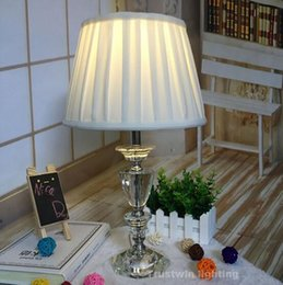 Wholesale Palace Glass - European palace LED desk lamp crystal fabric modern bedroom table light classic foyer table lamp glass vintage bedside table light