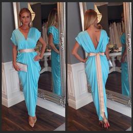 Wholesale Spandex Kaftan - New Arabic Kaftan Blue Evening Prom Dresses Arabic Abaya Dubai Long Sexy V Neck Evening Dresses With Short Sleeves