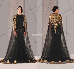 Wholesale Long Cloak Formal Dress - Black Arabic Muslim Evening Dresses Tulle Cloak Gold and Black Sequins Crew Neck 2016 Plus Size Mermaid Formal Wear Long Pageant Prom Dress