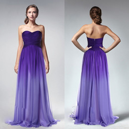 Wholesale Long Chiffon Ruched Sweetheart Dress - Ombre Purple Cheap A Line Long Bridesmaid Dresses Sweetheart Backless Sleeveless Ruched Cheap Bridesmaids Gowns Custom Made Girls Dress