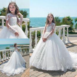projeto quente do vestido da menina Desconto 2019 Vintage Sheer Jewel Lace apliques de tule vestido de primeira comunhão vestido de baile manga comprida flor menina vestidos com pérolas