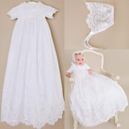 Wholesale Cheap Baptism Gowns - Custom made 2016 New Lovely Short Sleeve Baptism Gown White Ivory Lace Christening Gowns Dress for Baby Girls and Boys Cheap Toddler baptism