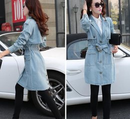 Wholesale Ladies Fitted Down Coat - 2017 Denim Trench Coat for Women Fashion Turn-down Collar Slim Fit Polyester Single Breasted Spring Coat Ladies Outwear M- XXL