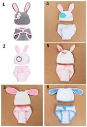 Wholesale carnival rabbit costumes - Baby Crochet Christmas photo props Cute Rabbit Ears hat pants sets costume for Newborns photo props Christmas gifts