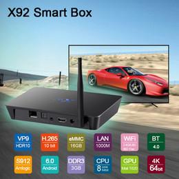 Octa core caixa de 64bit tv on-line-3 GB 16 GB X92 Amlogic S912 Octa-Core 64bit Android 7.1 CAIXA de TV 2.4 / 5.8G Wifi HDMI 4 K BT Inteligente Media Player