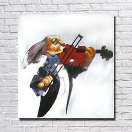 Wholesale Cartoon Violin - Rabbit play the violin picture abstract design hand painted animal oil painting for home wall decorative wall painting