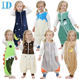 Wholesale Funny Pajamas - Baby Bag Sleepers Autumn Winter Children Jumpsuit Flannel Funny Animal Panda Kid Pajamas One Piece Blanket Sleepers