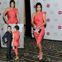Kim kardashian vermelho vestidos curtos on-line-Coral cor celebridade kim kardashian vestido de noite de um ombro tapete vermelho curto vestido de baile vestido de festa