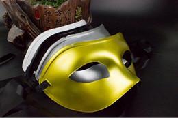 Wholesale Plastic Black Venetian Mask - Halloween Men's Masquerade Mask Fancy Dress Venetian Masks Masquerade Masks Plastic Half Face Mask Optional 4 colors Black,White,Gold,Silver
