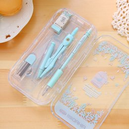 Wholesale Math Tool - Wholesale-1 Set Cute Kawaii Aihao Korean Compass Pencil Rulers Compass Math Geometric Pencil Drawing Drafting Tools School Supplies