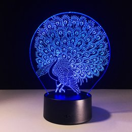 Wholesale Peacock Lamps - 2017 Peacock 3D Optical Illusion Lamp Night Light DC 5V USB AA Battery Wholesale Dropshipping