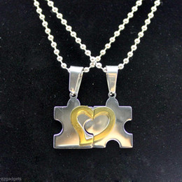 collana di due amanti Sconti New Unique Two Love People - Lega a forma di cuore Coppia Lover Collane Pendenti # R571