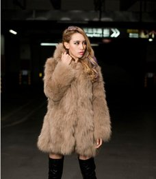 Wholesale Leopard Fur Button Jacket - Winter Leather grass fox fur hooded jacket and long sections Coat Woman Luxury Medium Long Fake Fur Female Overcoat Ladies