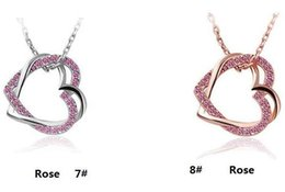 Wholesale Double Heart Necklace Diamond - Double Heart Chain Artificial Gold Silver Plated Diamond Necklace Winding Double Heart Diamond Charm Necklace DHL