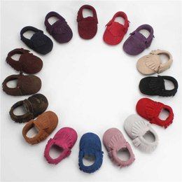 Wholesale Summer Infant Sale - Hot Sale Genuine Cashmere Leather Baby Moccasins Tassels First Walking Shoes Soft Sole 16 Colors Infant Toddler Shoes