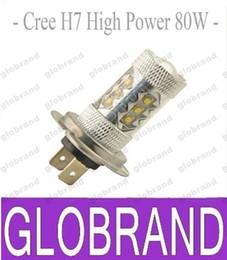 Wholesale H7 Lens Led Light - New arrival car led fog bulb led light car foglight lens hb4 led car lamp bulbs DC12-24V H7 80W White 6500K free shipping GLO367