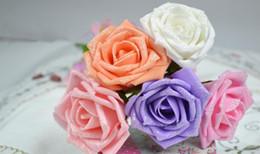 Rose scintillanti artificiali online-5-6CM Schiuma a fiore artificiale in schiuma sintetica Real Touch Glitter, gambo filo, forniture per bouquet da sposa, decorazioni per matrimoni Hanging Flower Ball