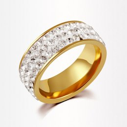 Wholesale Wedding Accessories Best Quality - Best Quality Genuine 18K Gold Plated Luxury Exaggerated Wedding Zircon Crystal Rings Female Statement Jewelry Accessories