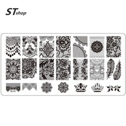 Wholesale Feather Manicure - Wholesale- 1pcs NEW Lace Crown Feather Designs Nail Art Templates Salon Manicure Decor Nail Art Image Stamp Stamping Plates Stencil BC03