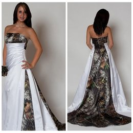 Wholesale Drop Waist Wedding Gowns - New Arrival Strapless Camo Wedding Dress with Pleats Empire Waist A Line Sweep Train Realtree Camouflage 2018 Betra Bridal Gowns Plus Size