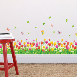 Wholesale Tulips Wall Decals Stickers - Country Style Tulip Flower Butterfly Baseboard Wall Stickers DIY Wall Decal Home Decor Living Room Bedroom Window Decoration