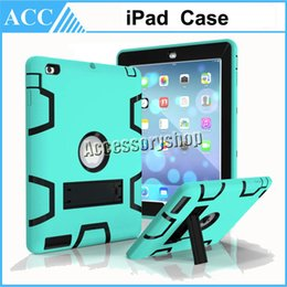 Wholesale Hard Rubber Case Ipad Mini - iPad Pro Hybrid Tough Shockproof Heavy Duty Rugged Soft Rubber With Hard PC Kick Stand Case Cover For iPad Pro 2 3 4 Air Air2 Mini 1 2 3 4