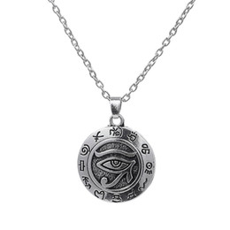 Wholesale Red Cubic Zirconia Necklace - Egyptian Eye of Ra Horus Vintage Silver Charm Necklace Pendant Lariat Jewelry