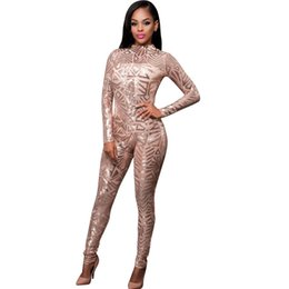 32a73976d38 Wholesale- High-end Custom Black Gold Sequin Jumpsuit 2017 Spring Women Long  Sleeve High Stretch Party Club Bodycon Rompers Overalls S2772