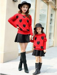 Wholesale Cotton Sweater Skirts - Autumn Winter Family Matching Outfits Sets Star Heart Patterns Sweater +Skirt 2 Pieces Kids & Mom Outerwear