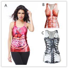 Wholesale Women Fashion Tank Tops Skeleton - Hot fashion ladies' 3D Muscles DIGITAL Print VEST for women Fashion O-neck internal organs prting Sleeveless skeleton Crop Tops T Shirt