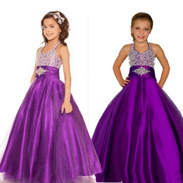 Wholesale Satin Sashes For Dresses - Purple Girls Pageant Dresses Halter Puffy Tulle Satin Little Girls Party Dresses Custom Made Pageant Dresses For Teens