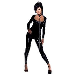 Wholesale Sexy Black Flexible - Black Faux Leather Catsuit Sexy Vinyl Zipper to Crotch Jumpsuit Flexible Wet Look Lingerie Women Catwoman Catsuit W7833